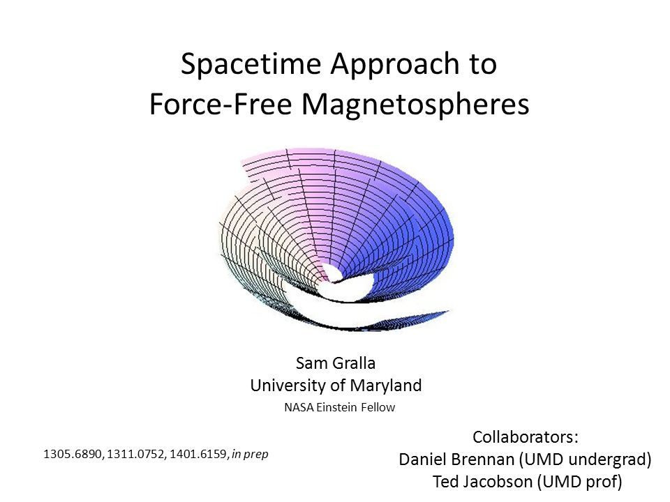 Spacetime Approach to Force-Free Magnetospheres Sam Gralla University of Maryland Collaborators: Daniel Brennan (UMD undergrad) Ted Jacobson (UMD prof) 1305.6890, 1311.0752, 1401.6159, in prep NASA Einstein Fellow
