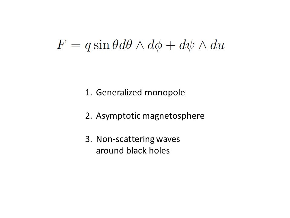 1.Generalized monopole 2.Asymptotic magnetosphere 3.Non-scattering waves around black holes