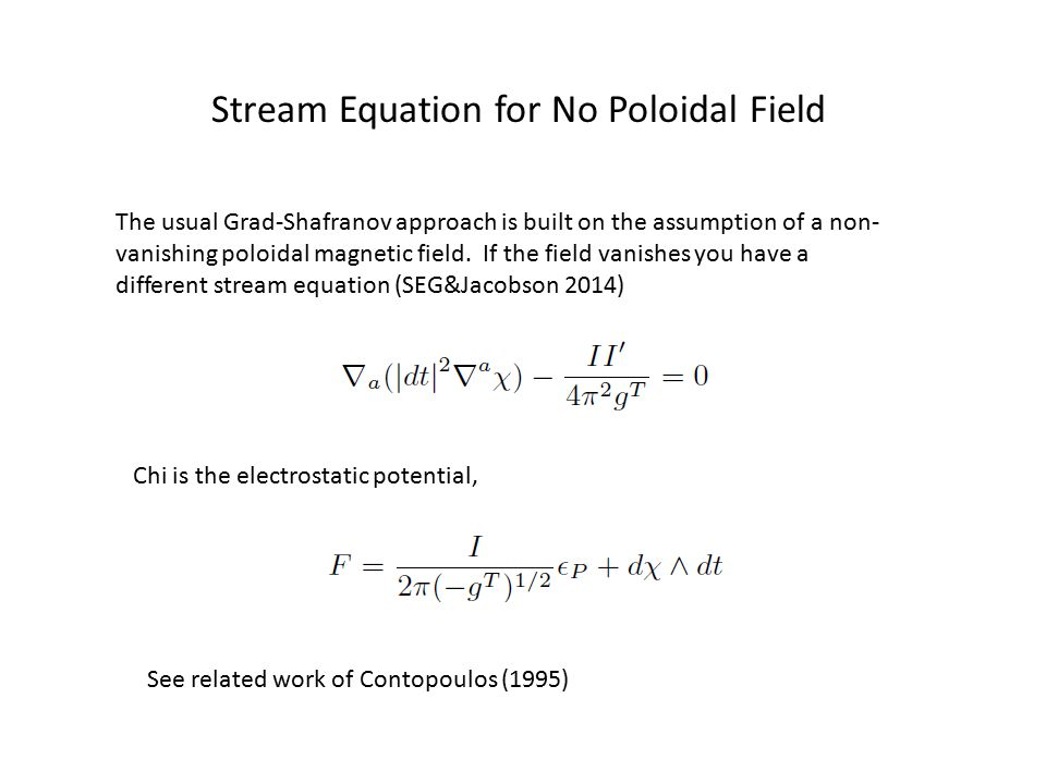 Stream Equation for No Poloidal Field The usual Grad-Shafranov approach is built on the assumption of a non- vanishing poloidal magnetic field. If the