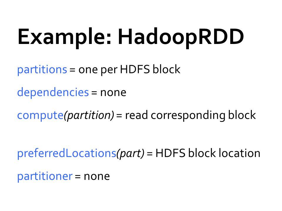 Example: HadoopRDD partitions = one per HDFS block dependencies = none compute(partition) = read corresponding block preferredLocations(part) = HDFS b