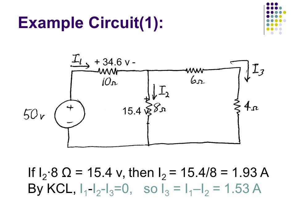 Example Circuit(1): If I 2 ∙8 Ω = 15.4 v, then I 2 = 15.4/8 = 1.93 A By KCL, I 1 -I 2 -I 3 =0, so I 3 = I 1 –I 2 = 1.53 A + 34.6 v - + 15.4 v -