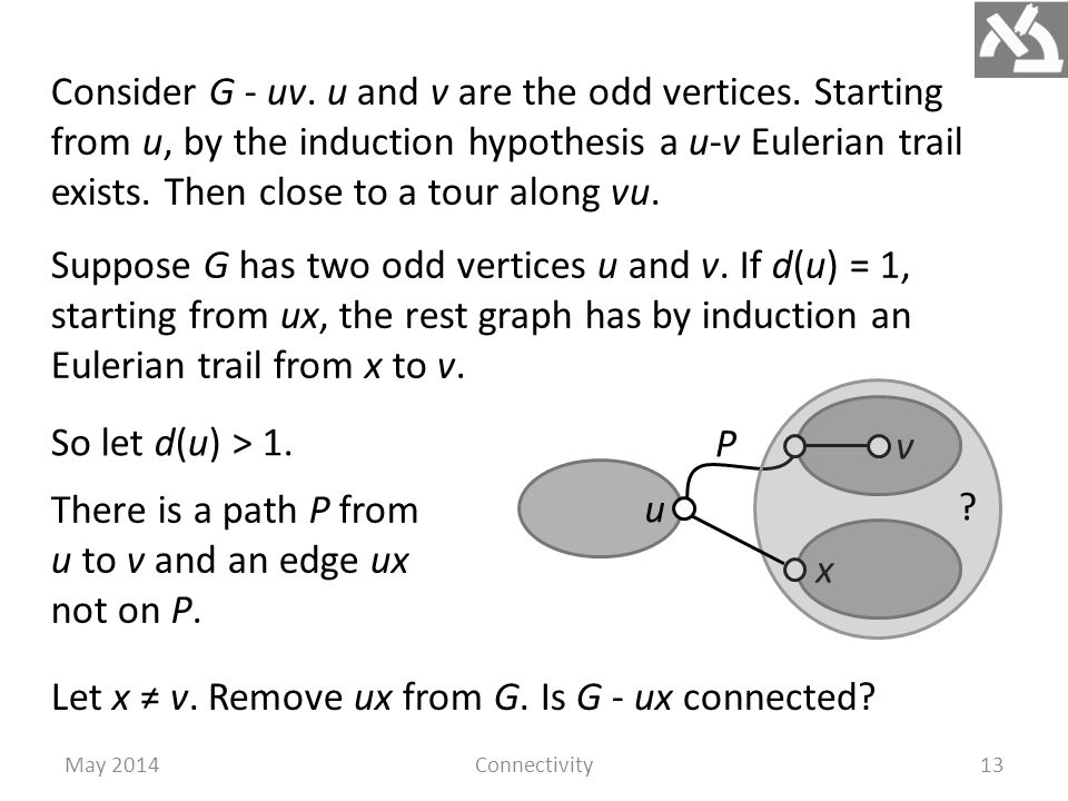 May 2014Connectivity13 Consider G - uv. u and v are the odd vertices.