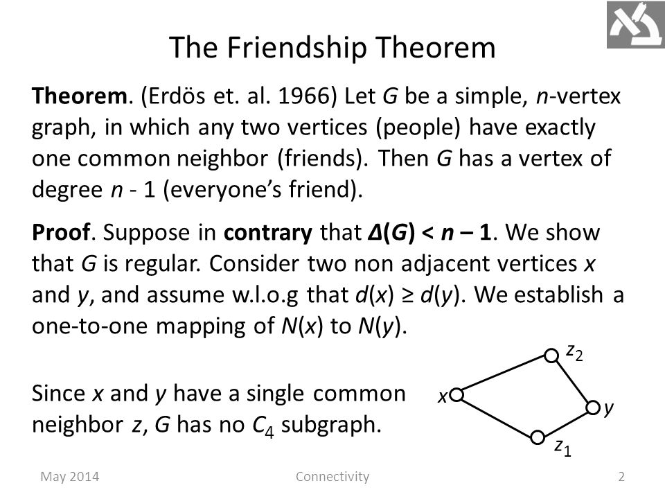 The Friendship Theorem May 2014Connectivity2 Theorem.