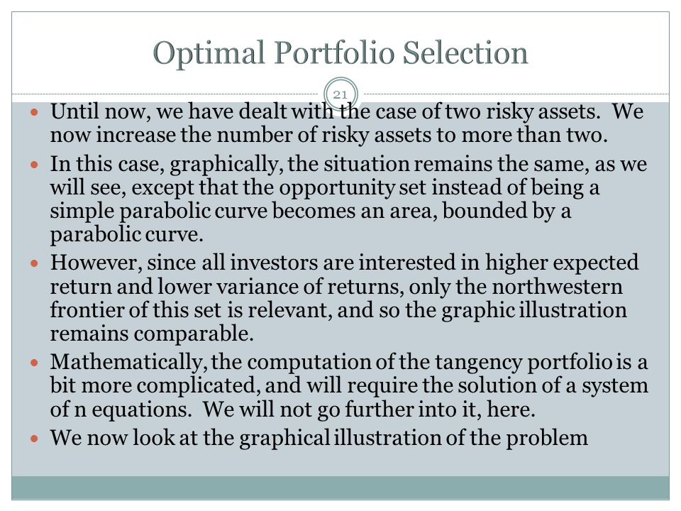 21 Until now, we have dealt with the case of two risky assets. We now increase the number of risky assets to more than two. In this case, graphically,