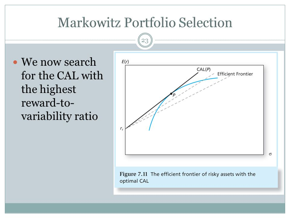 23 We now search for the CAL with the highest reward-to- variability ratio