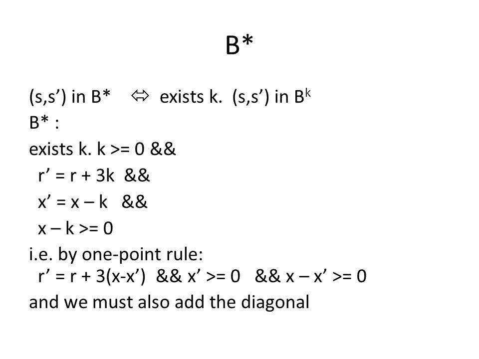 B* (s,s') in B*  exists k. (s,s') in B k B* : exists k.