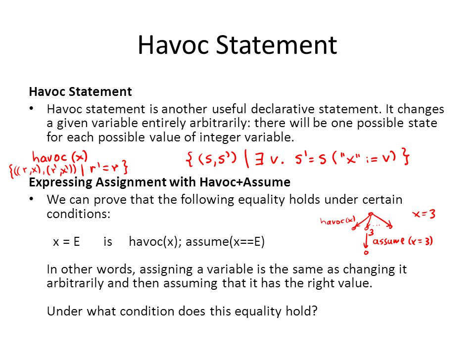 Havoc Statement Havoc statement is another useful declarative statement.