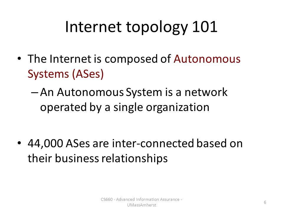 The Internet map of ASes 7 CS660 - Advanced Information Assurance - UMassAmherst