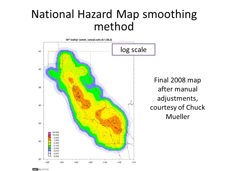 National Hazard Map smoothing method Final 2008 map after manual adjustments, courtesy of Chuck Mueller log scale