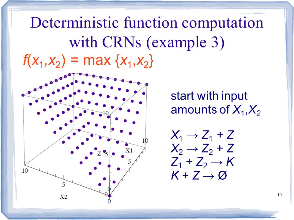 15 Deterministic function computation with CRNs (example 3) f(x 1,x 2 ) = max {x 1,x 2 } start with input amounts of X 1,X 2 X 1 → Z 1 + Z X 2 → Z 2 +