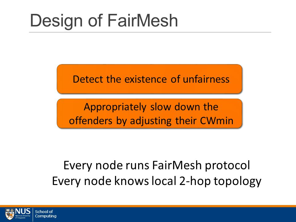 School of Computing Design of FairMesh Detect the existence of unfairness Appropriately slow down the offenders by adjusting their CWmin Every node runs FairMesh protocol Every node knows local 2-hop topology