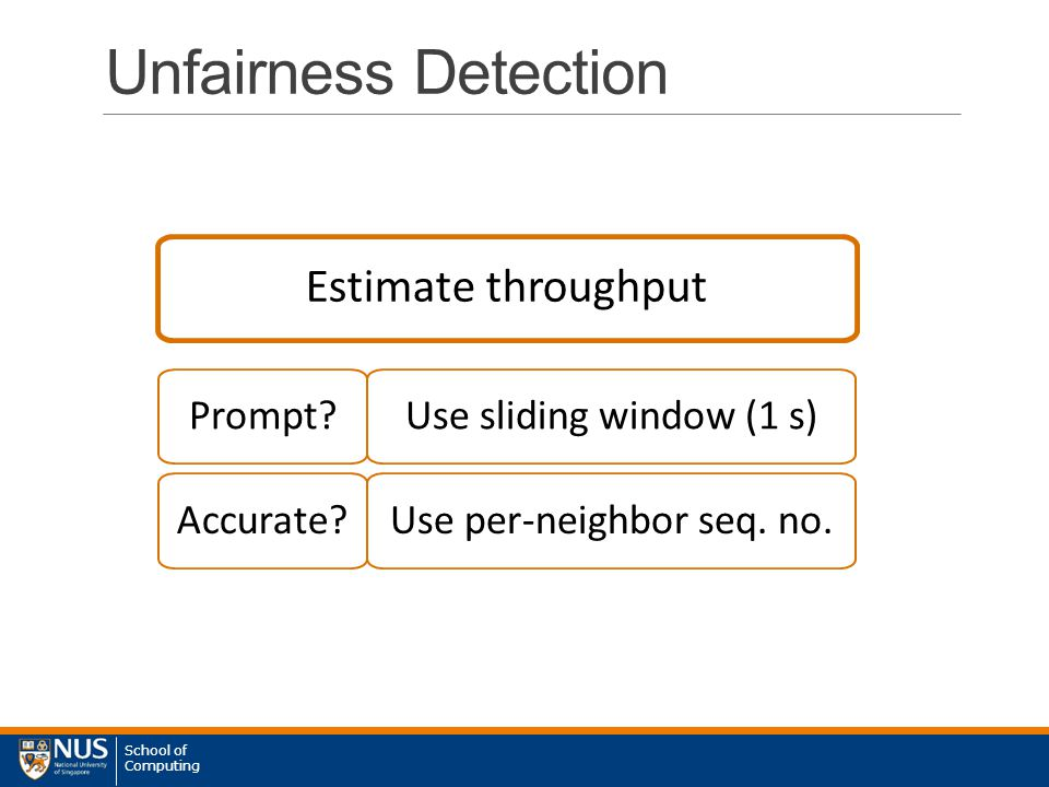 School of Computing Unfairness Detection Estimate throughput Prompt.
