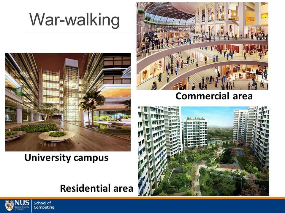 School of Computing War-walking Commercial area University campus Residential area