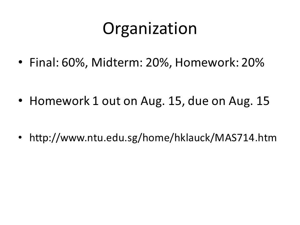 Organization Final: 60%, Midterm: 20%, Homework: 20% Homework 1 out on Aug.
