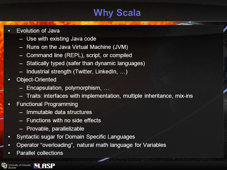 The Scala Data Model Implementation Three base Variable classes: Scalar, Tuple, Function Extend Scala collections, inherit many operations (e.g.