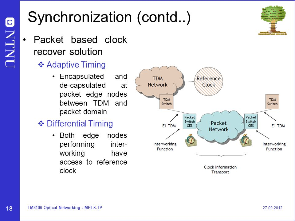 18 Synchronization (contd..) Packet based clock recover solution  Adaptive Timing Encapsulated and de-capsulated at packet edge nodes between TDM and packet domain  Differential Timing Both edge nodes performing inter- working have access to reference clock 27.09.2012 TM8106 Optical Networking - MPLS-TP