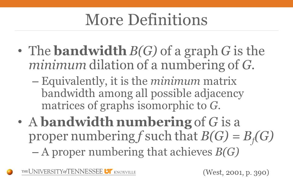 The bandwidth B(G) of a graph G is the minimum dilation of a numbering of G.