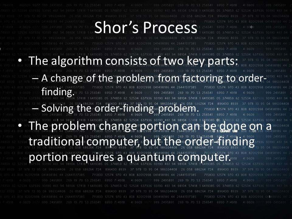 Shor's Process The algorithm consists of two key parts: – A change of the problem from factoring to order- finding.