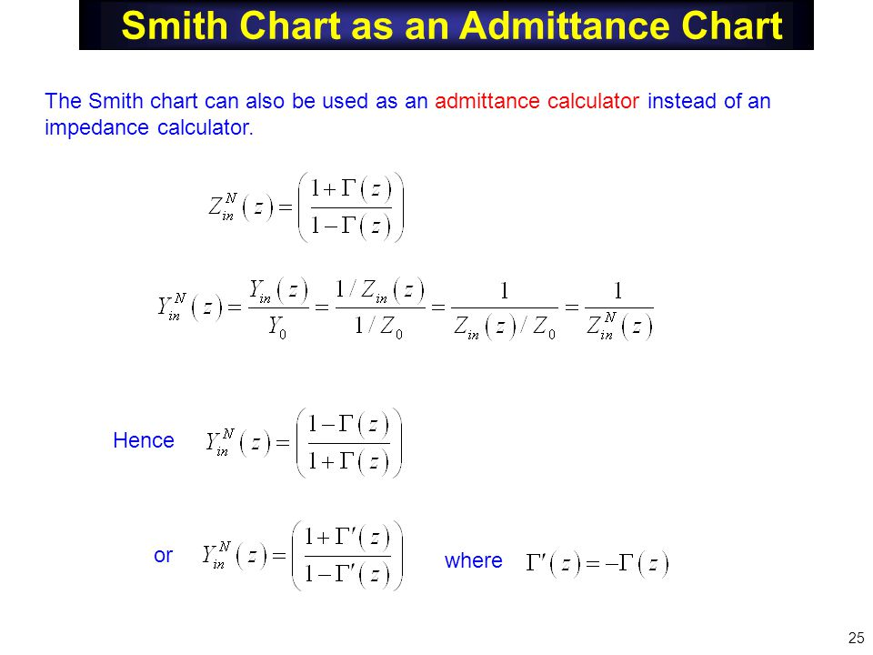 Smith Chart as an Admittance Chart The Smith chart can also be used as an admittance calculator instead of an impedance calculator.