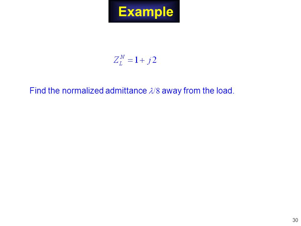 Example Find the normalized admittance /8 away from the load. 30