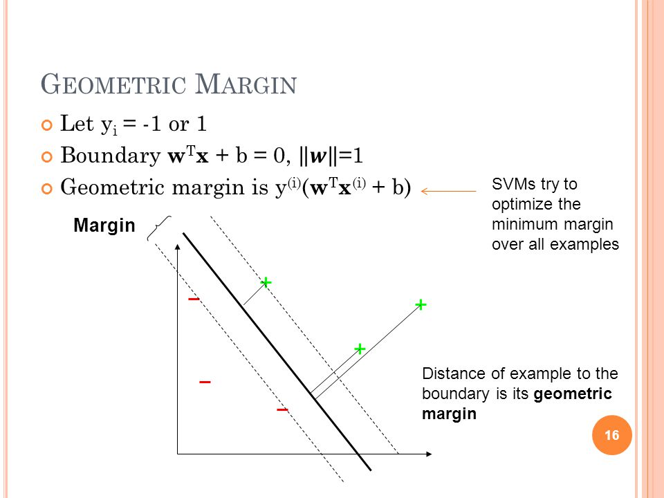 G EOMETRIC M ARGIN 16 Margin Distance of example to the boundary is its geometric margin SVMs try to optimize the minimum margin over all examples
