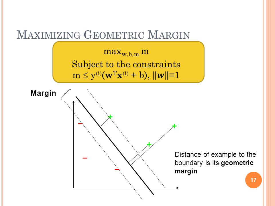 M AXIMIZING G EOMETRIC M ARGIN 17 Margin Distance of example to the boundary is its geometric margin