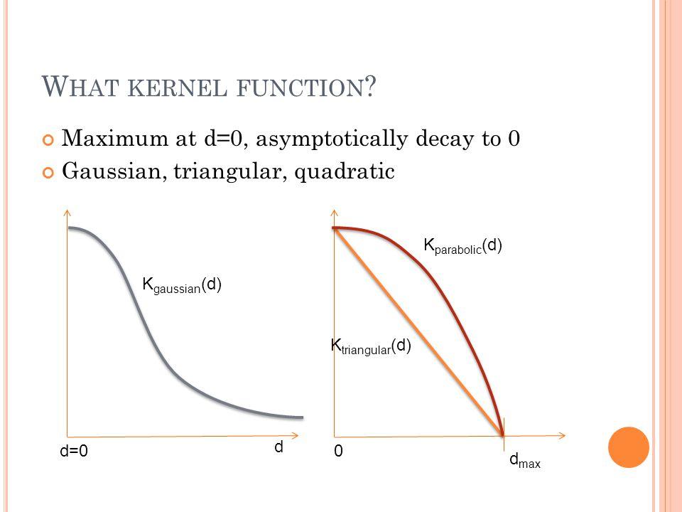 W HAT KERNEL FUNCTION ? Maximum at d=0, asymptotically decay to 0 Gaussian, triangular, quadratic d d=0 K gaussian (d) 0 K triangular (d) K parabolic