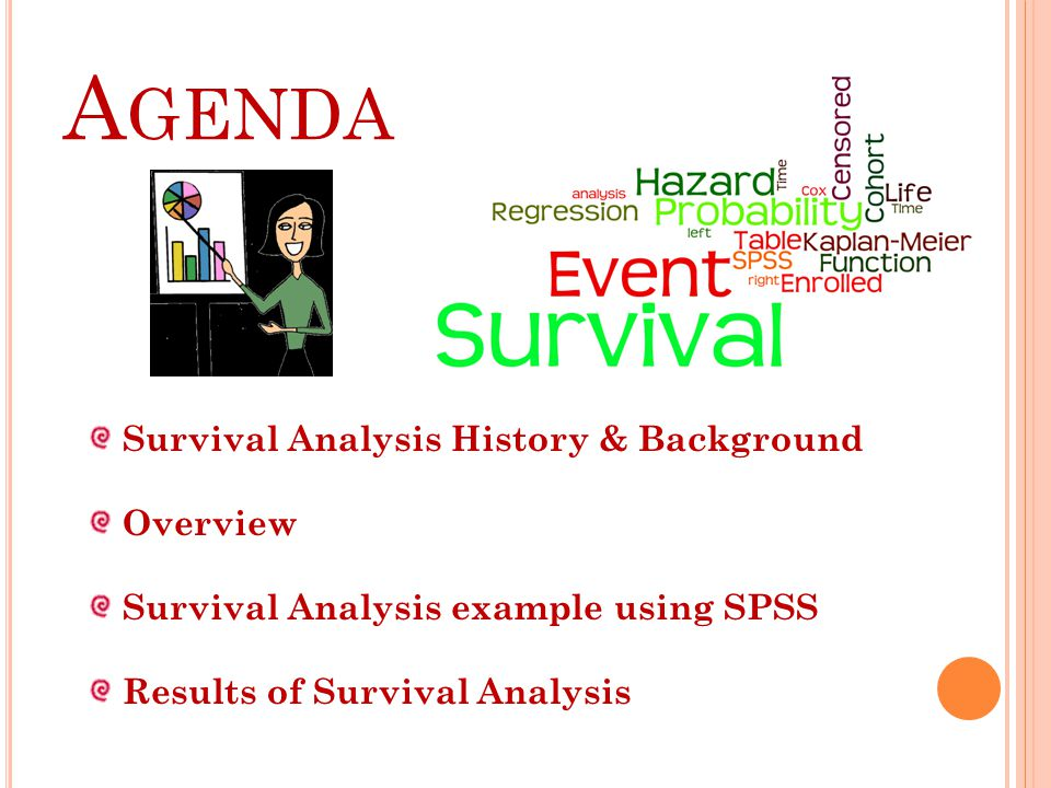 A GENDA Survival Analysis History & Background Overview Survival Analysis example using SPSS Results of Survival Analysis
