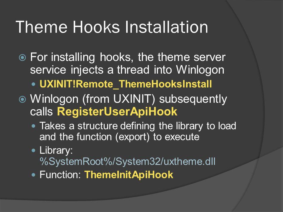 Theme Hooks Installation  For installing hooks, the theme server service injects a thread into Winlogon UXINIT!Remote_ThemeHooksInstall  Winlogon (f
