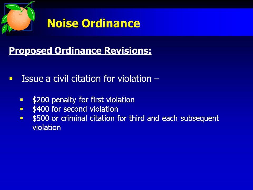 Noise Ordinance Proposed Ordinance Revisions:  Issue a civil citation for violation –  $200 penalty for first violation  $400 for second violation