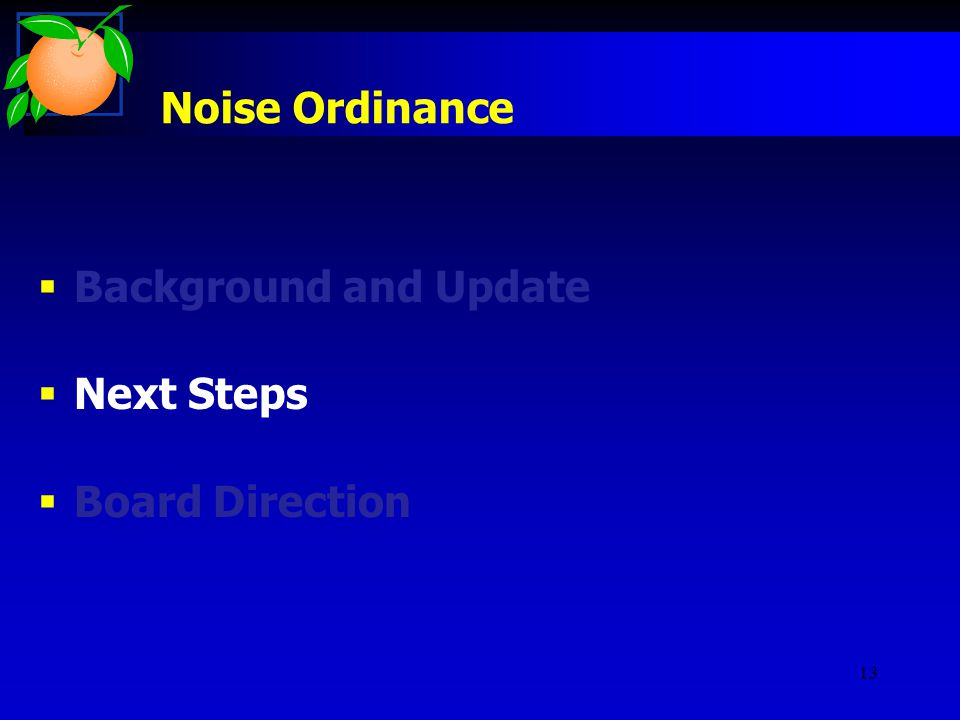 13 Noise Ordinance  Background and Update  Next Steps  Board Direction