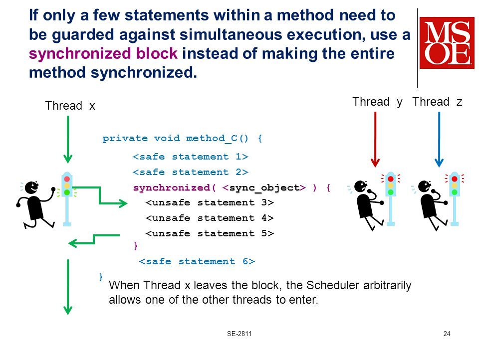 If only a few statements within a method need to be guarded against simultaneous execution, use a synchronized block instead of making the entire method synchronized.