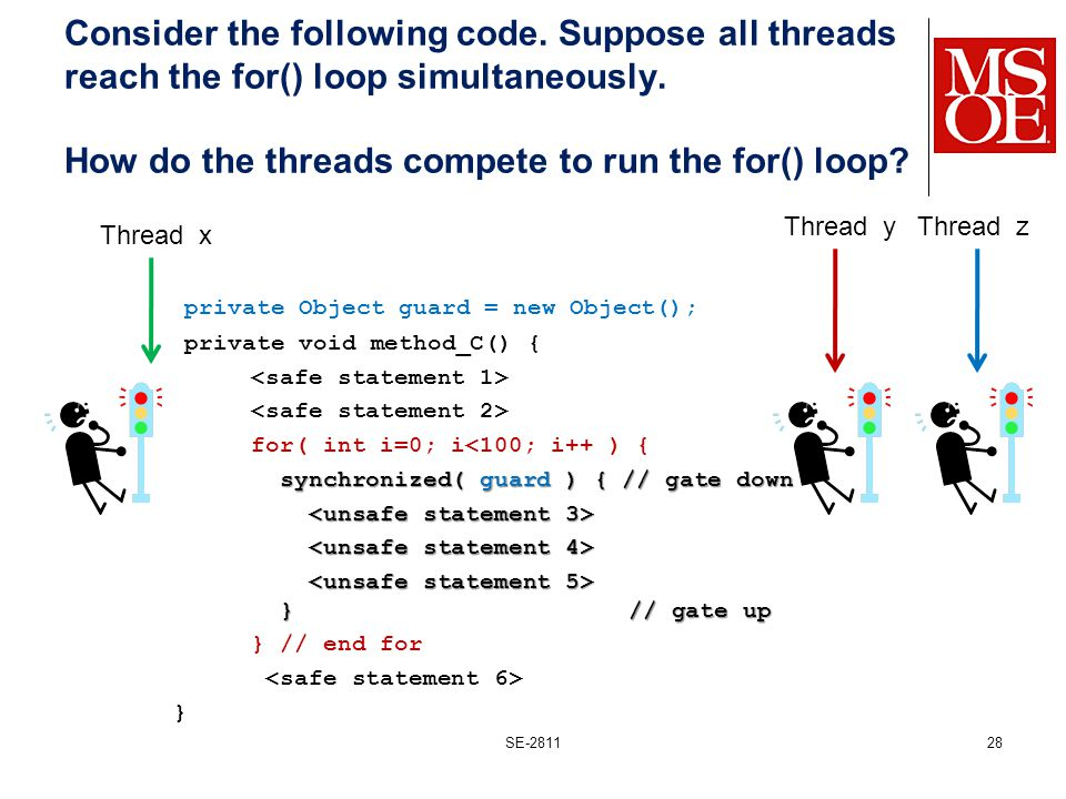 Consider the following code. Suppose all threads reach the for() loop simultaneously.