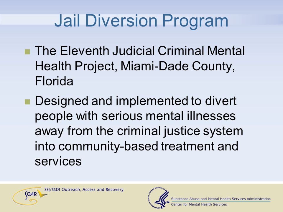 Jail Diversion Program The Eleventh Judicial Criminal Mental Health Project, Miami-Dade County, Florida Designed and implemented to divert people with serious mental illnesses away from the criminal justice system into community-based treatment and services