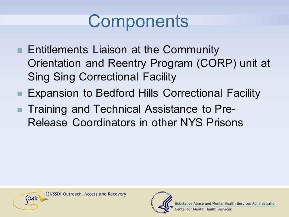 Components Entitlements Liaison at the Community Orientation and Reentry Program (CORP) unit at Sing Sing Correctional Facility Expansion to Bedford Hills Correctional Facility Training and Technical Assistance to Pre- Release Coordinators in other NYS Prisons