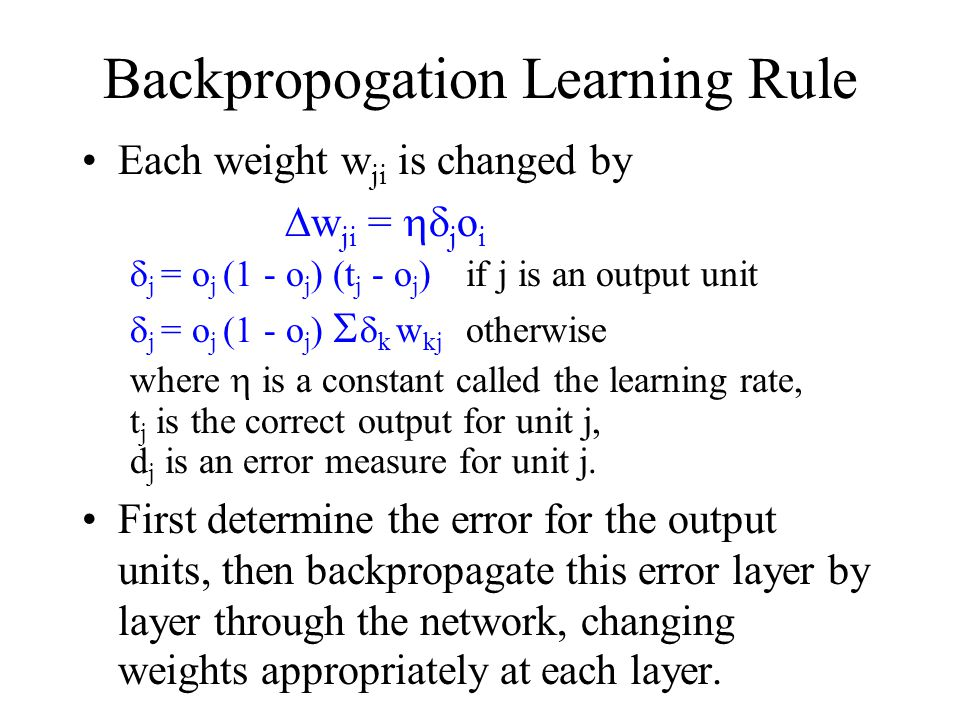 Backpropogation Learning Algorithm Create a three layer network with N hidden units and fully connect input units to hidden units and hidden units to output units with small random weights.