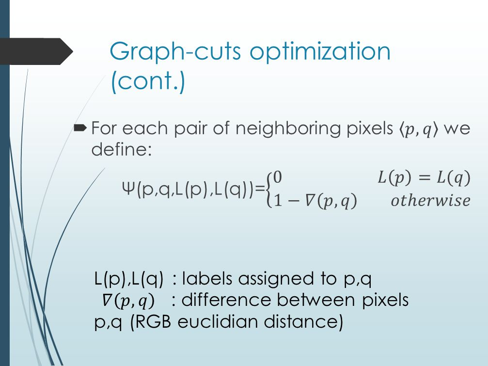 Graph-cuts optimization (cont.)