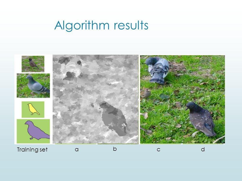 Algorithm results Training set a b c d