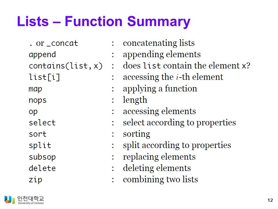 Lists – Function Summary 12