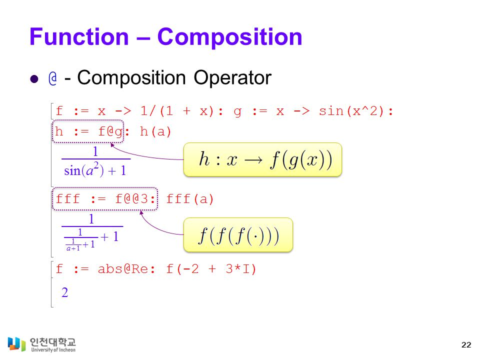 Functions - Operations Expression and Functions Operations 23 Evaluate and assign Differentiation