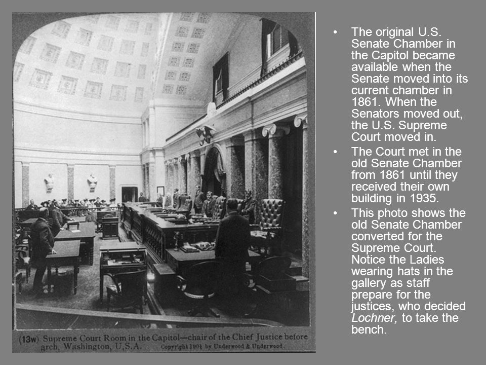 The original U.S. Senate Chamber in the Capitol became available when the Senate moved into its current chamber in 1861. When the Senators moved out,