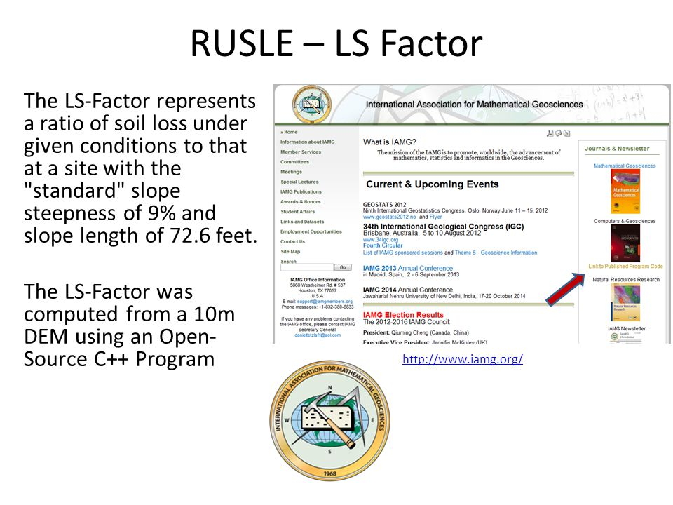 RUSLE – LS Factor The LS-Factor represents a ratio of soil loss under given conditions to that at a site with the standard slope steepness of 9% and slope length of 72.6 feet.