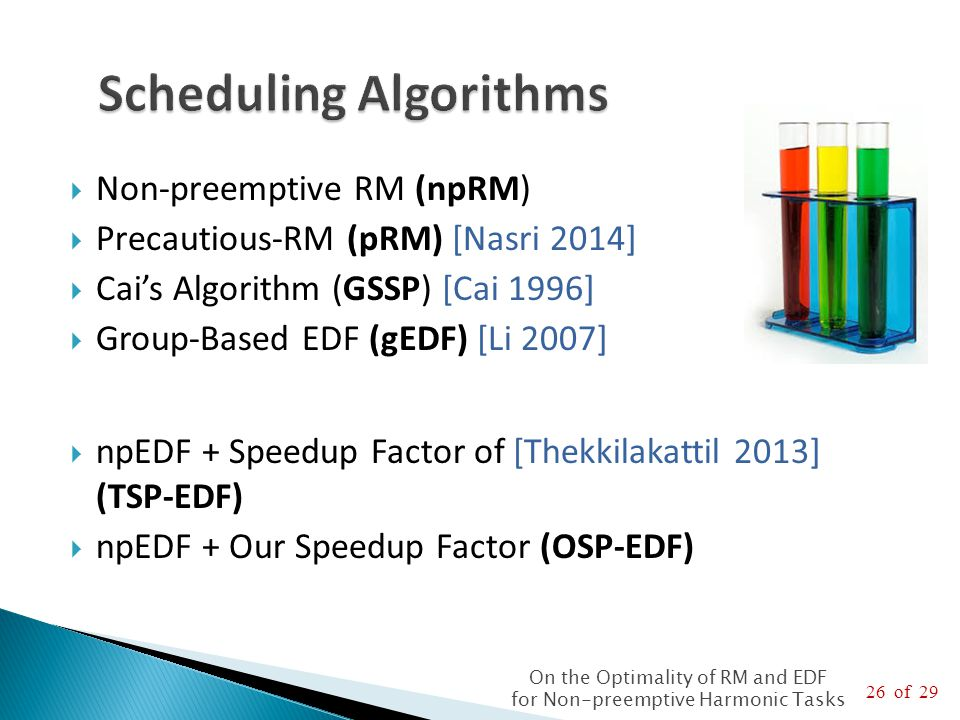 26 of 29 On the Optimality of RM and EDF for Non-preemptive Harmonic Tasks  Non-preemptive RM (npRM)  Precautious-RM (pRM) [Nasri 2014]  Cai's Algorithm (GSSP) [Cai 1996]  Group-Based EDF (gEDF) [Li 2007]  npEDF + Speedup Factor of [Thekkilakattil 2013] (TSP-EDF)  npEDF + Our Speedup Factor (OSP-EDF)