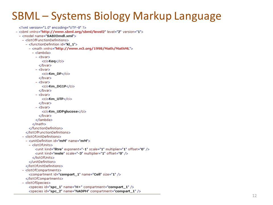 SBML – Systems Biology Markup Language 12