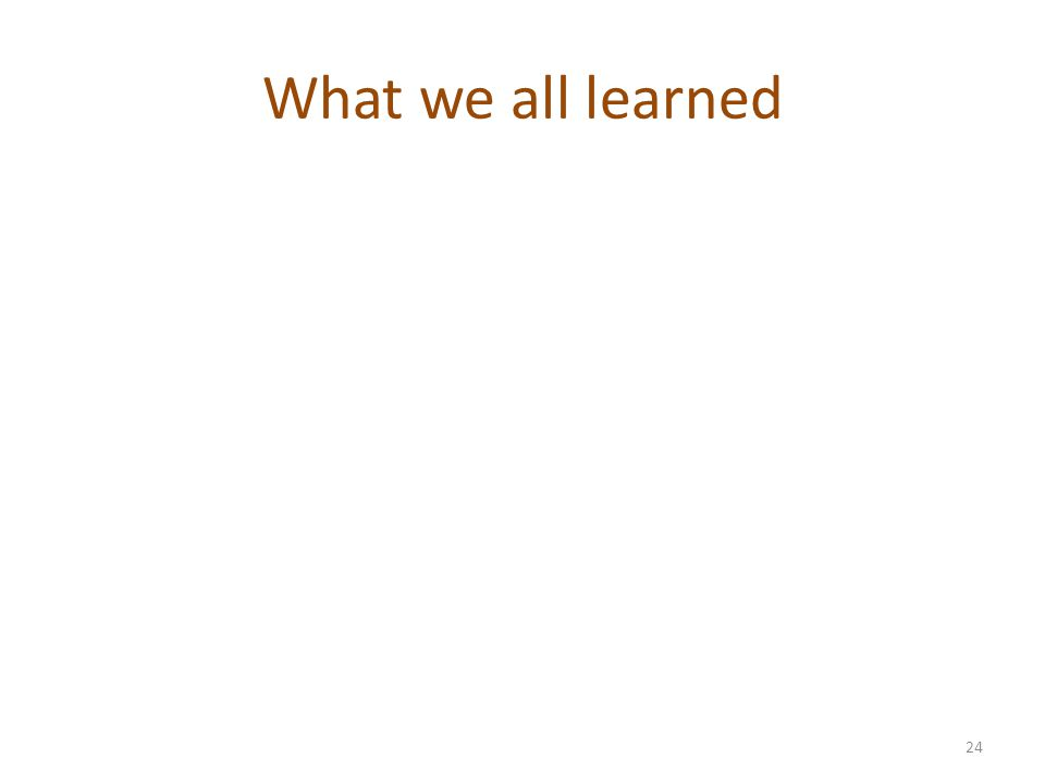 What we all learned 24