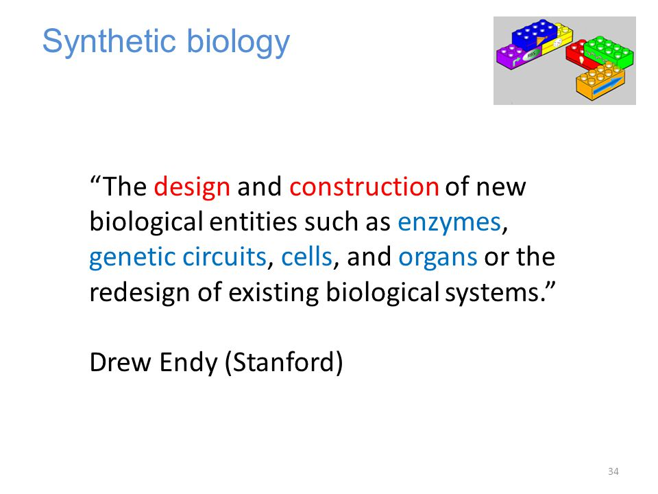 """Synthetic biology """"The design and construction of new biological entities such as enzymes, genetic circuits, cells, and organs or the redesign of exis"""