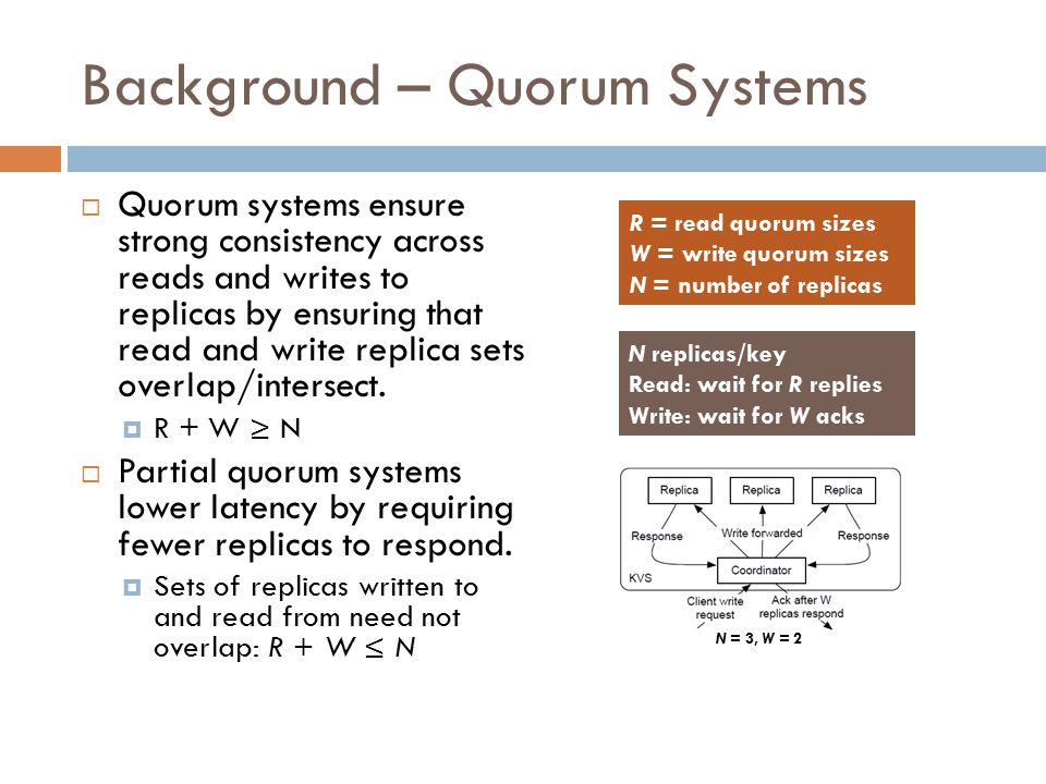 Background – Partial Quorums  Probabilistic Quorum Systems  Provides probabilistic guarantees of quorum intersection  By scaling the number of replicas, an arbitrarily high probability of consistency can be achieved
