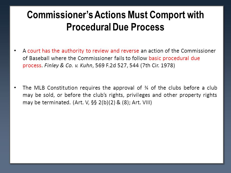 Commissioner's Actions Must Comport with Procedural Due Process A court has the authority to review and reverse an action of the Commissioner of Baseball where the Commissioner fails to follow basic procedural due process.