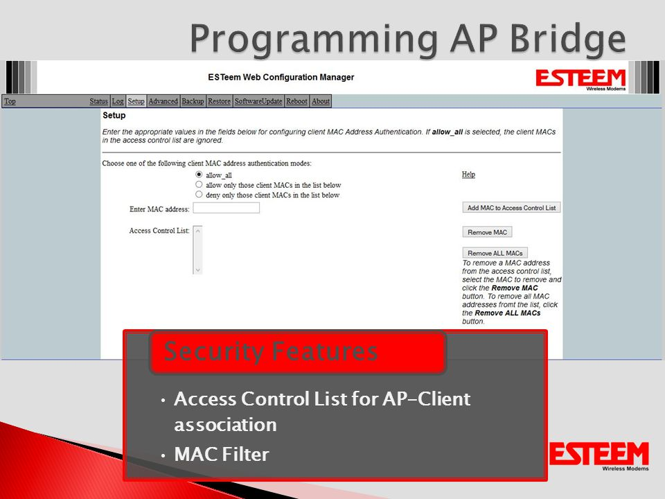 Access Control List for AP-Client association MAC Filter Security Features